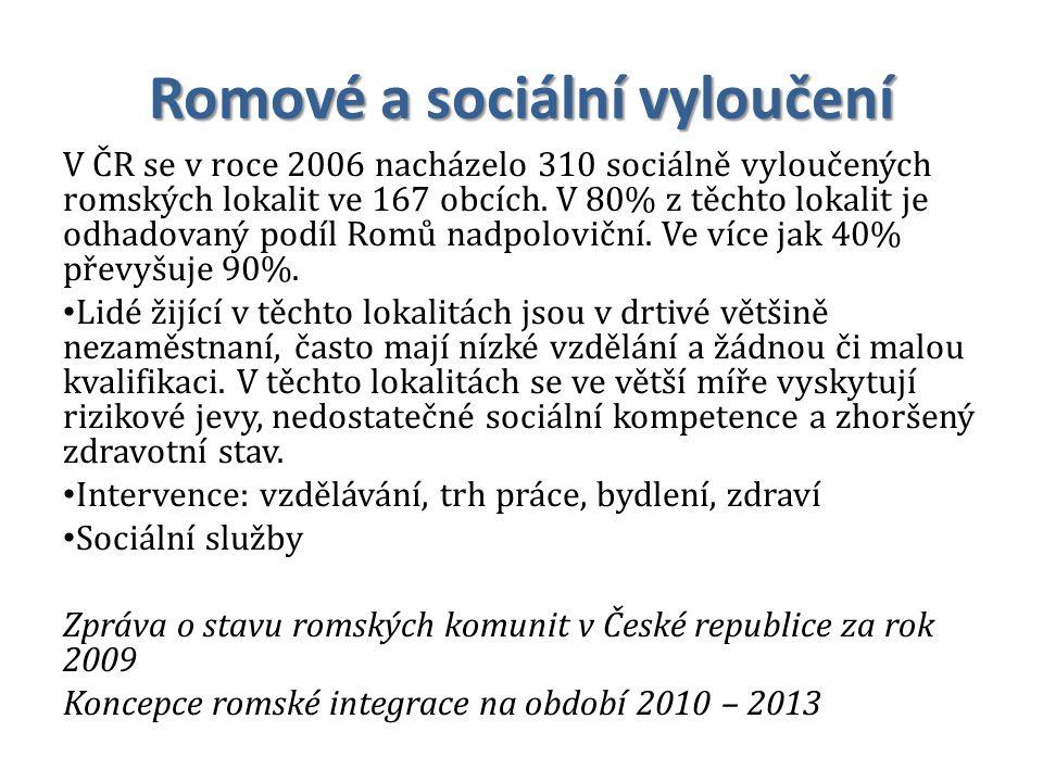 Romové a sociální vyloučení V ČR se v roce 2006 nacházelo 310 sociálně vyloučených romských lokalit ve 167 obcích. V 80% z těchto lokalit je odhadovan