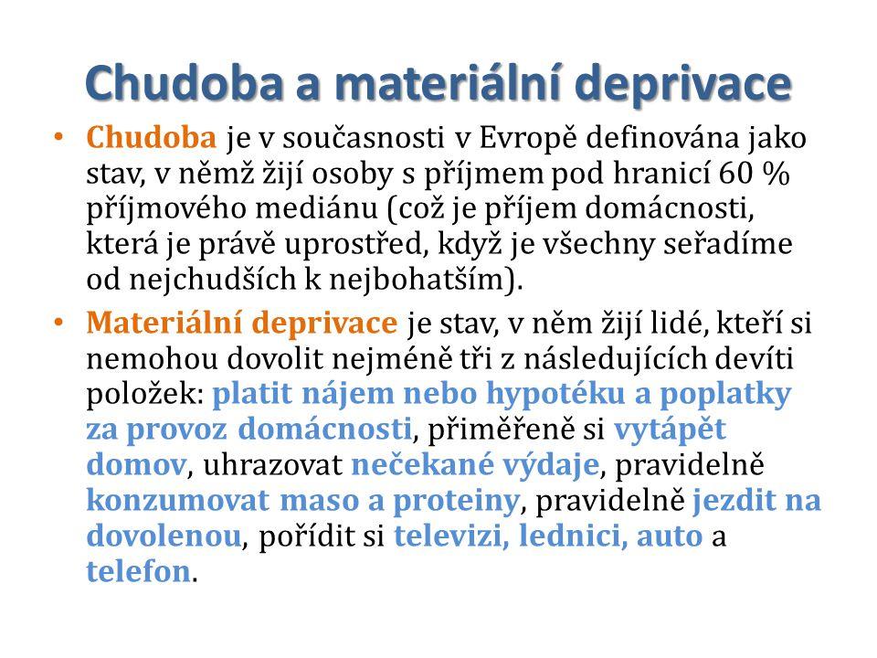 Chudoba a materiální deprivace Chudoba je v současnosti v Evropě definována jako stav, v němž žijí osoby s příjmem pod hranicí 60 % příjmového mediánu