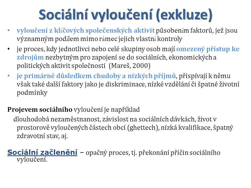 Sociální vyloučení (exkluze) vyloučení z kl í čových společenských aktivit působen í m faktorů, jež jsou významným pod í lem mimo r á mec jejich vlast