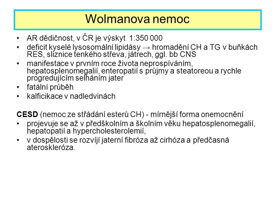 AR dědičnost, v ČR je výskyt 1:350 000 deficit kyselé lysosomální lipidásy → hromadění CH a TG v buňkách RES, sliznice tenkého střeva, játrech, ggl. b