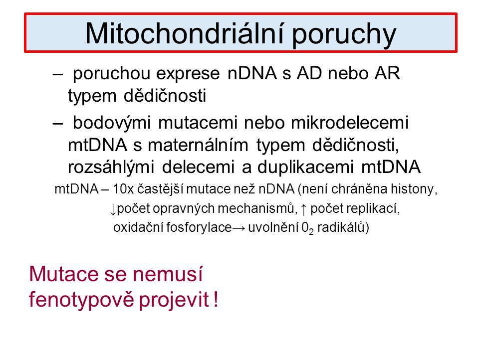 – poruchou exprese nDNA s AD nebo AR typem dědičnosti – bodovými mutacemi nebo mikrodelecemi mtDNA s maternálním typem dědičnosti, rozsáhlými delecemi