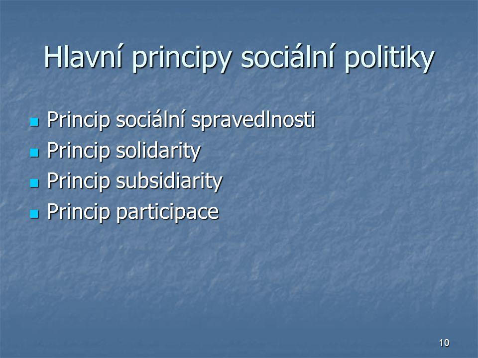10 Hlavní principy sociální politiky Princip sociální spravedlnosti Princip sociální spravedlnosti Princip solidarity Princip solidarity Princip subsidiarity Princip subsidiarity Princip participace Princip participace
