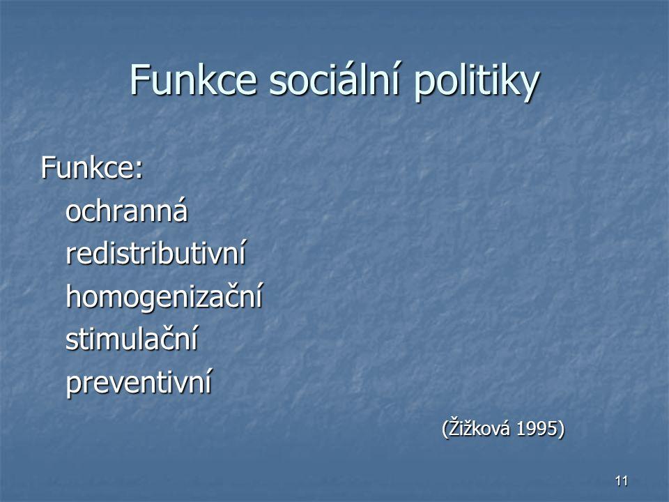 11 Funkce sociální politiky Funkce:ochrannáredistributivníhomogenizačnístimulačnípreventivní (Žižková 1995)