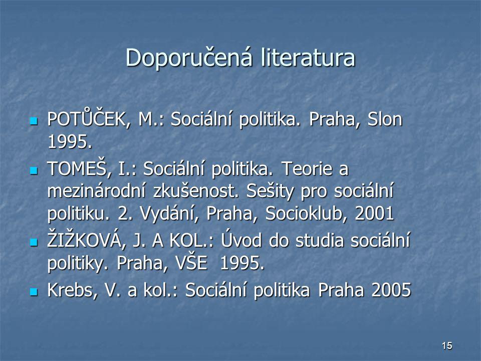 15 Doporučená literatura POTŮČEK, M.: Sociální politika.