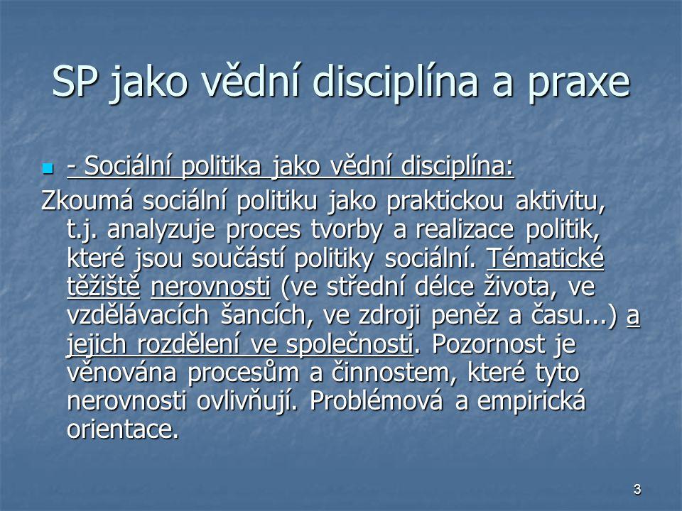 14 Role aktérů v sociální politice Aktéři SP (Potůček) Zahrnují subjekty i objekty SP Role státu x nestátního neziskového sektoru v sociální politice Efektivita zajišťování SP jednotlivými aktéry