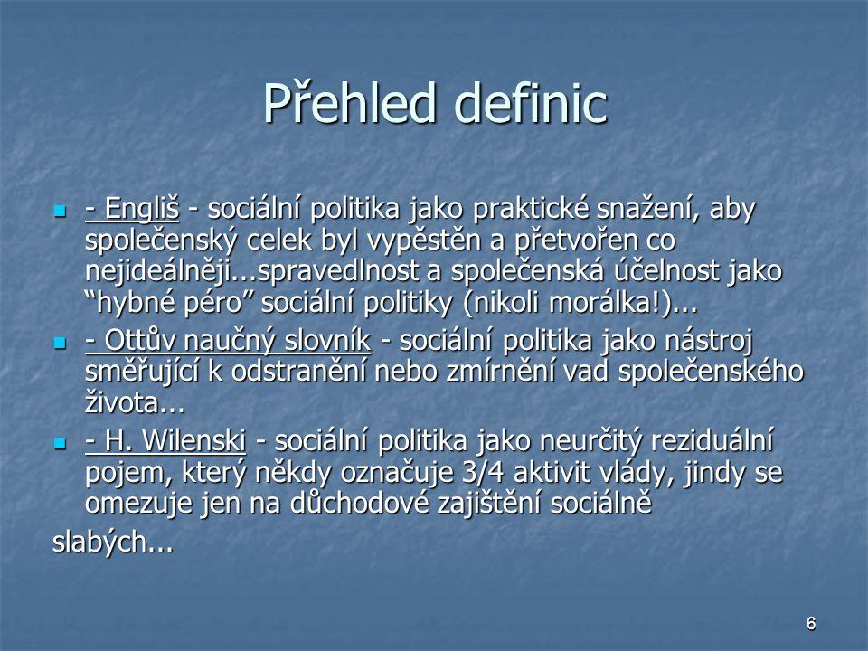 6 Přehled definic - Engliš - sociální politika jako praktické snažení, aby společenský celek byl vypěstěn a přetvořen co nejideálněji...spravedlnost a společenská účelnost jako hybné péro sociální politiky (nikoli morálka!)...