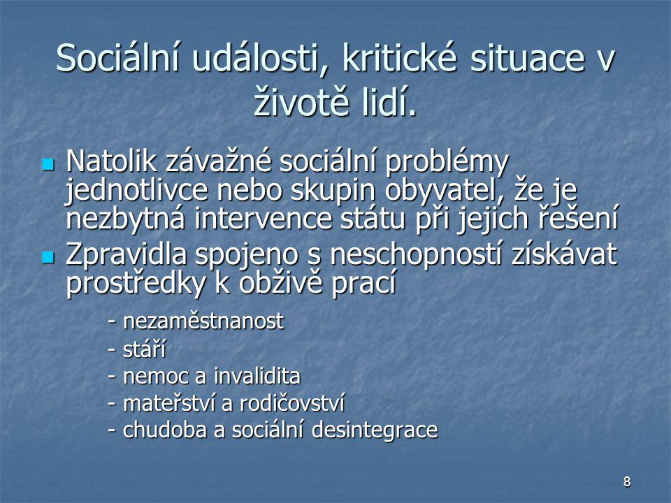 9 Hlavní cíle sociální politiky Sociální politika cílová - cíle jsou důvodem vzniku instituce Sociální politika cílová - cíle jsou důvodem vzniku instituce Sociální politika instrumentální - cíle subjektu jsou jiné, sociální opatření jsou prostředkem k jejich dosažení Sociální politika instrumentální - cíle subjektu jsou jiné, sociální opatření jsou prostředkem k jejich dosažení Změny sociálně politických cílů : Změny sociálně politických cílů : Od pomoci člověku - přes povinnost státu - po právo občana.