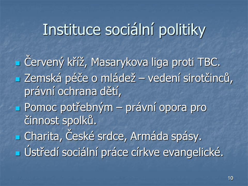 10 Instituce sociální politiky Červený kříž, Masarykova liga proti TBC. Červený kříž, Masarykova liga proti TBC. Zemská péče o mládež – vedení sirotči