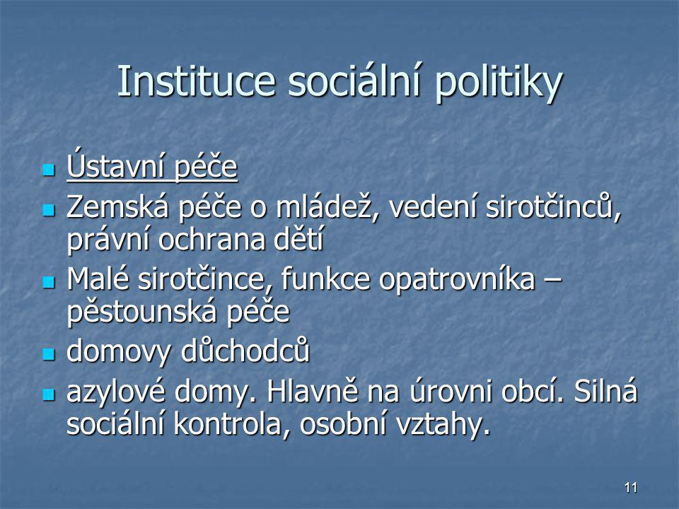 11 Instituce sociální politiky Ústavní péče Ústavní péče Zemská péče o mládež, vedení sirotčinců, právní ochrana dětí Zemská péče o mládež, vedení sir