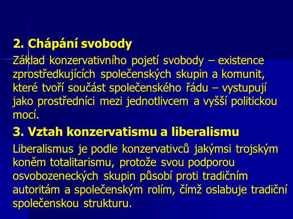 Konzervatismus: Sen a realita Robert Nisbeth 1. Neslučitelnost svobody a rovnosti 1. Neslučitelnost svobody a rovnosti Názor na svobodu a rovnost jsou