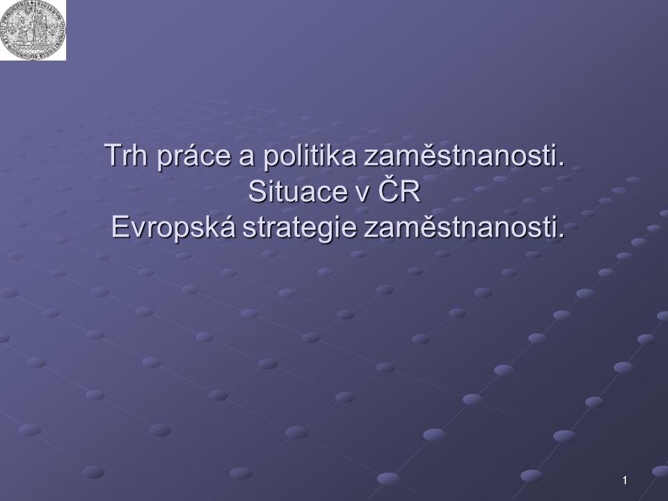 1 Trh práce a politika zaměstnanosti. Situace v ČR Evropská strategie zaměstnanosti.
