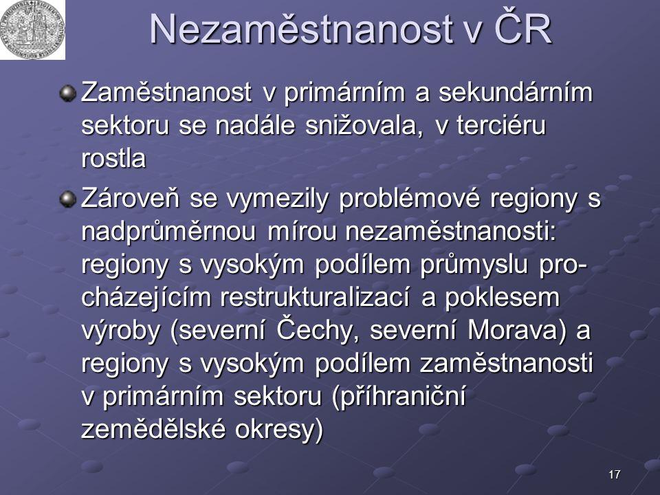 17 Nezaměstnanost v ČR Zaměstnanost v primárním a sekundárním sektoru se nadále snižovala, v terciéru rostla Zároveň se vymezily problémové regiony s
