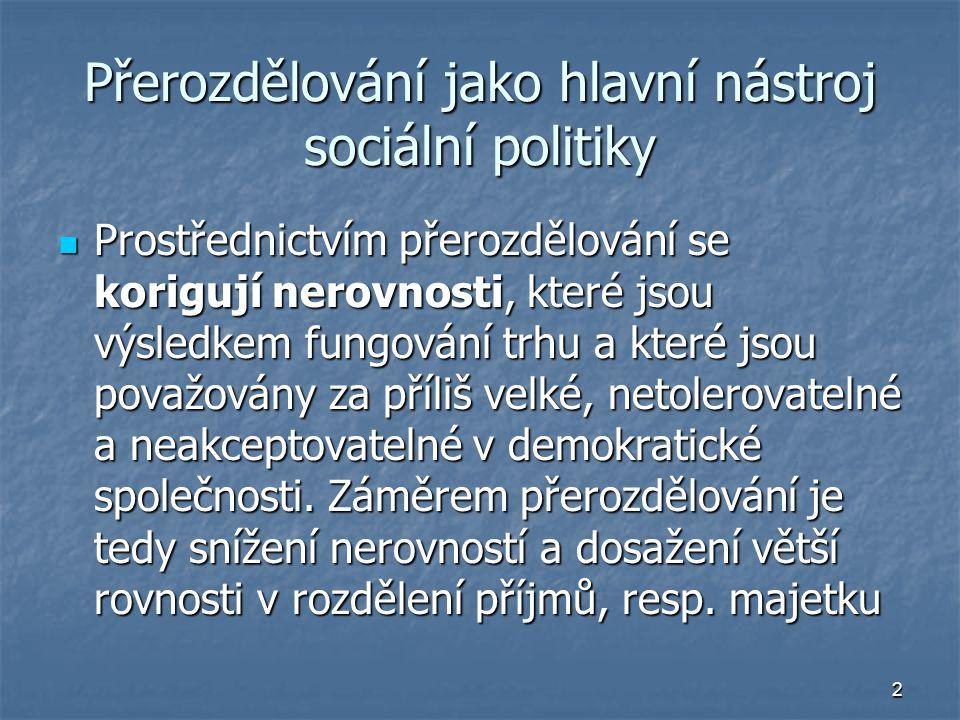 2 Přerozdělování jako hlavní nástroj sociální politiky Prostřednictvím přerozdělování se korigují nerovnosti, které jsou výsledkem fungování trhu a které jsou považovány za příliš velké, netolerovatelné a neakceptovatelné v demokratické společnosti.