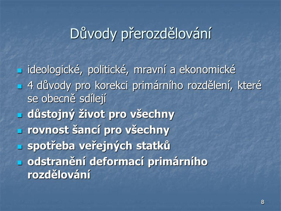 8 Důvody přerozdělování ideologické, politické, mravní a ekonomické ideologické, politické, mravní a ekonomické 4 důvody pro korekci primárního rozděl
