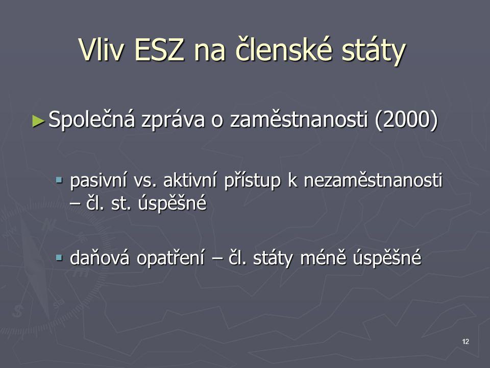 12 Vliv ESZ na členské státy ► Společná zpráva o zaměstnanosti (2000)  pasivní vs.