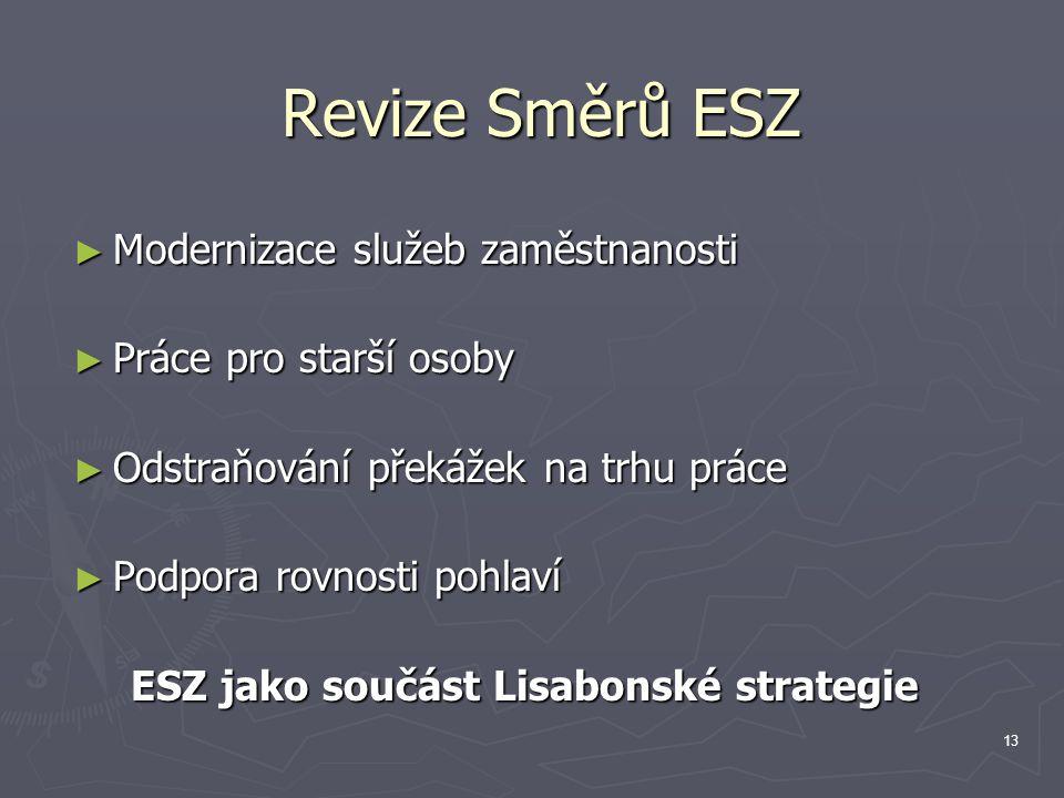 13 Revize Směrů ESZ ► Modernizace služeb zaměstnanosti ► Práce pro starší osoby ► Odstraňování překážek na trhu práce ► Podpora rovnosti pohlaví ESZ jako součást Lisabonské strategie
