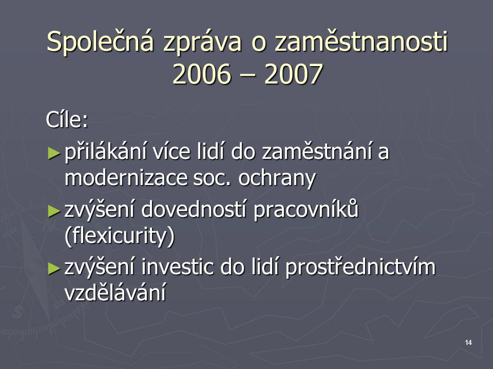 14 Společná zpráva o zaměstnanosti 2006 – 2007 Cíle: ► přilákání více lidí do zaměstnání a modernizace soc.