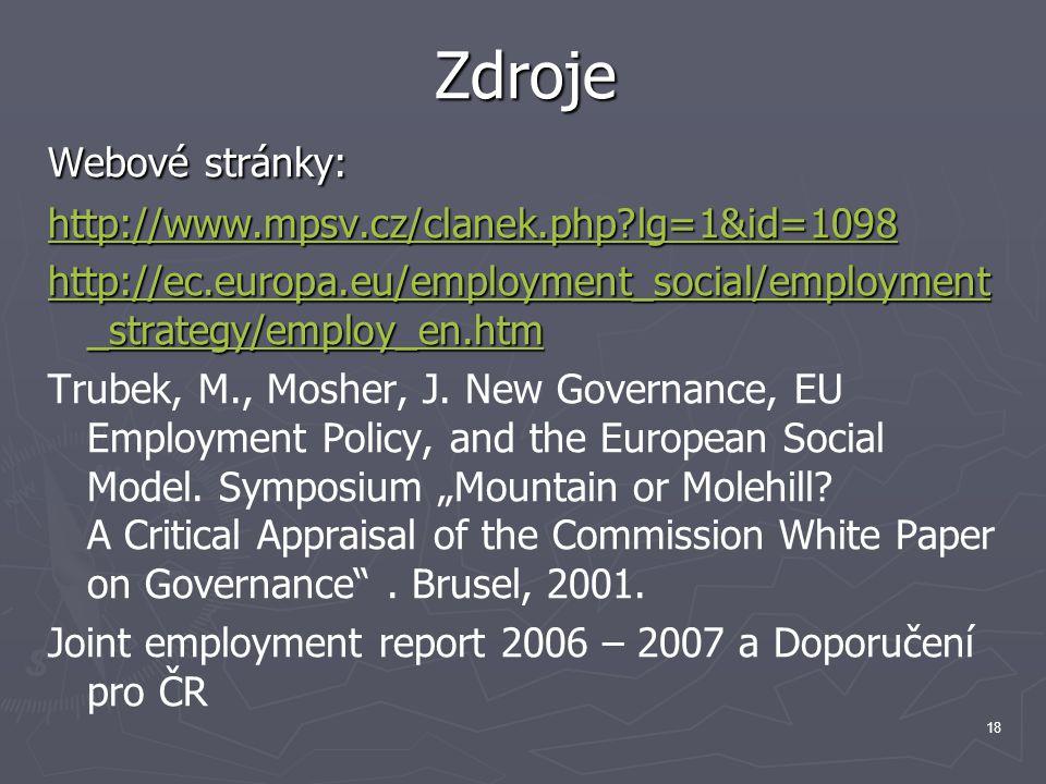 18 Zdroje Webové stránky: http://www.mpsv.cz/clanek.php lg=1&id=1098 http://ec.europa.eu/employment_social/employment _strategy/employ_en.htm http://ec.europa.eu/employment_social/employment _strategy/employ_en.htm Trubek, M., Mosher, J.