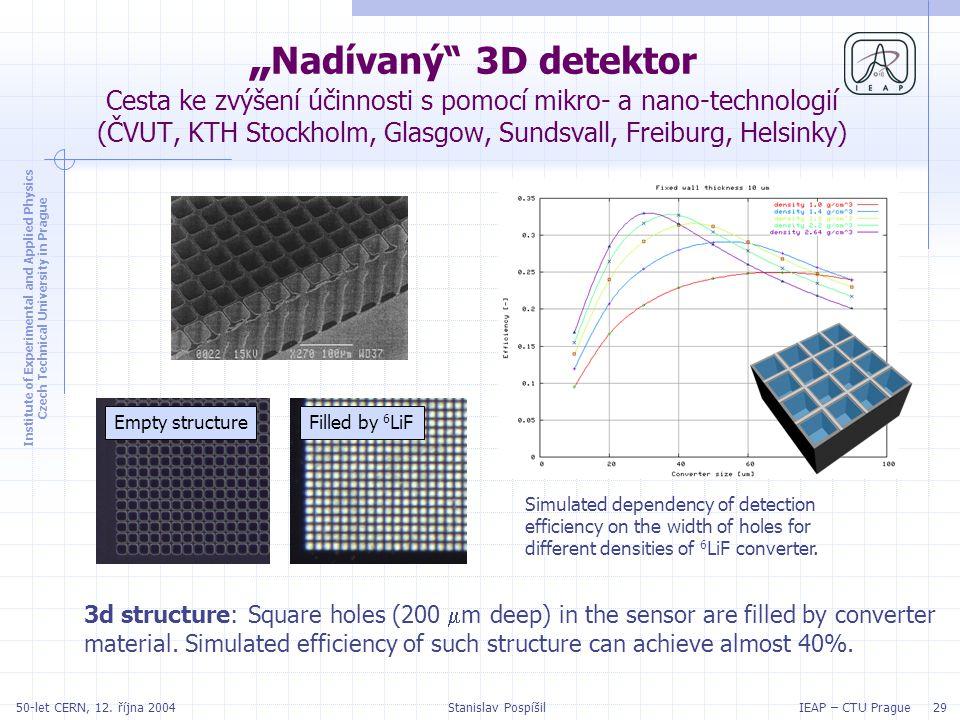 "Institute of Experimental and Applied Physics Czech Technical University in Prague IEAP – CTU Prague 2950-let CERN, 12. října 2004Stanislav Pospíšil """