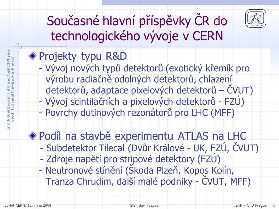 Institute of Experimental and Applied Physics Czech Technical University in Prague IEAP – CTU Prague 2750-let CERN, 12.