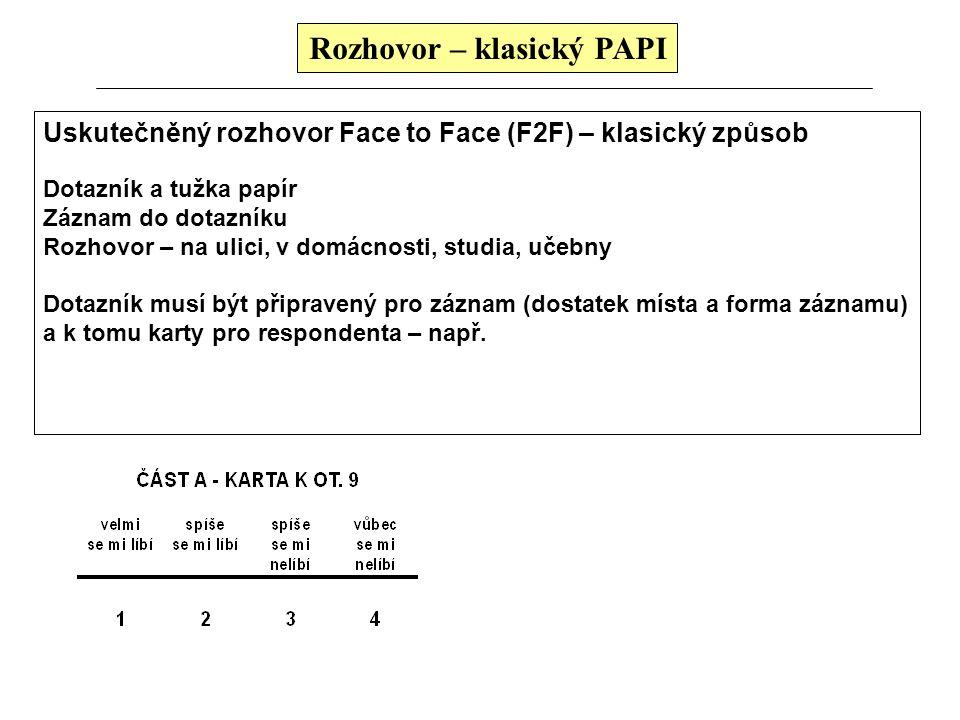 Rozhovor – klasický PAPI Uskutečněný rozhovor Face to Face (F2F) – klasický způsob Dotazník a tužka papír Záznam do dotazníku Rozhovor – na ulici, v d
