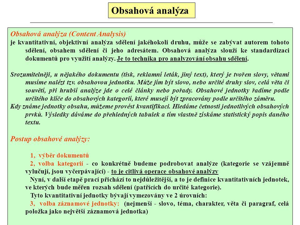 Obsahová analýza Obsahová analýza (Content Analysis) je kvantitativní, objektivní analýza sdělení jakéhokoli druhu, může se zabývat autorem tohoto sdělení, obsahem sdělení či jeho adresátem.