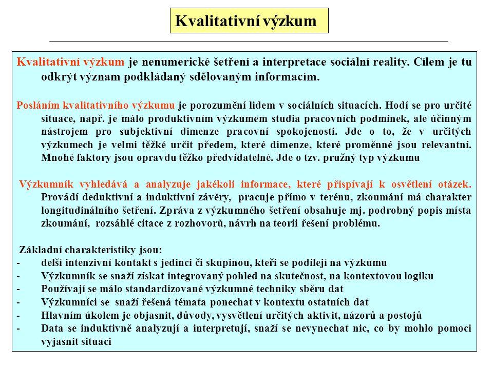 Kvalitativní výzkum Osnova: 1.Vymezení kvalitativního výzkumu 2.Kvantitativní a kvalitativní výzkum 3.Základní přístupy kvalitativního výzkumu 4.Kvali