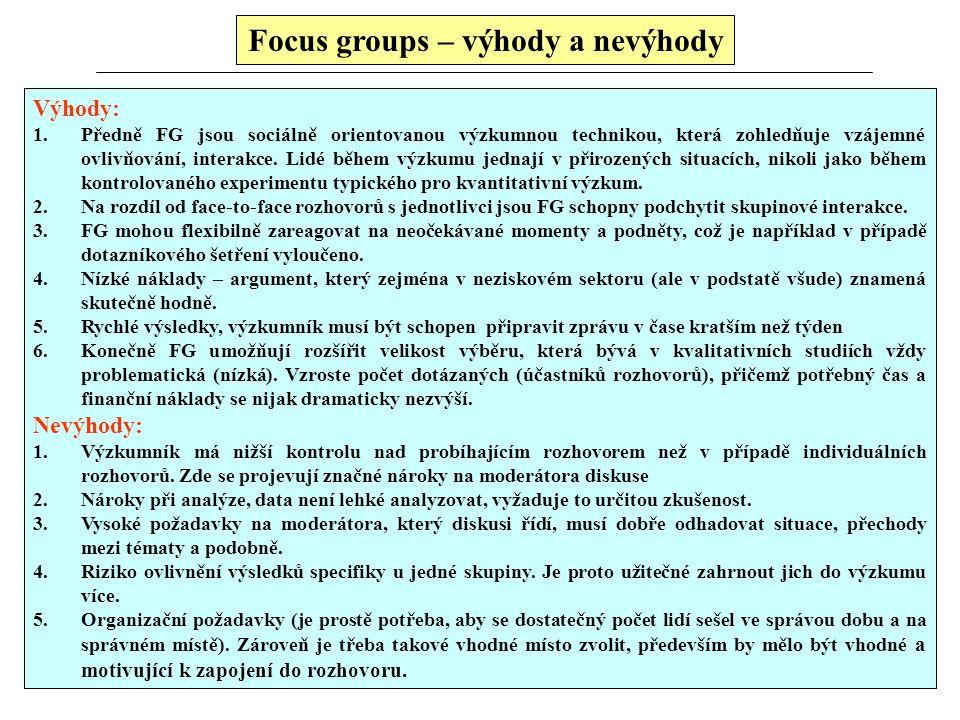 "studio ""příposlech"" Focus groups – studio a příposlech"