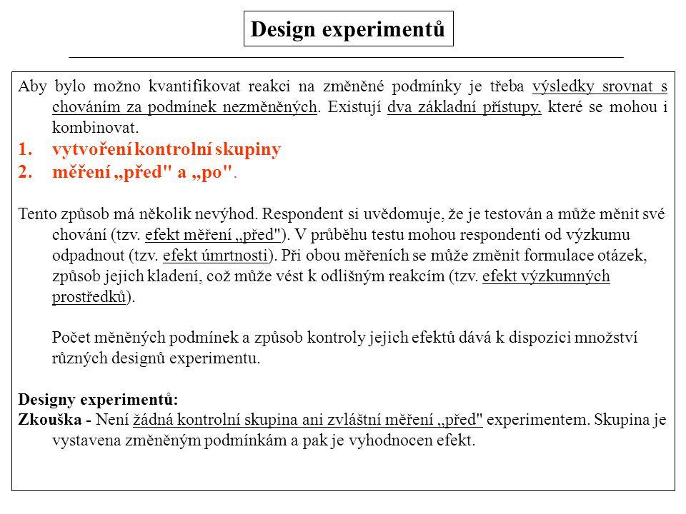 Design experimentů Aby bylo možno kvantifikovat reakci na změněné podmínky je třeba výsledky srovnat s chováním za podmínek nezměněných. Existují dva