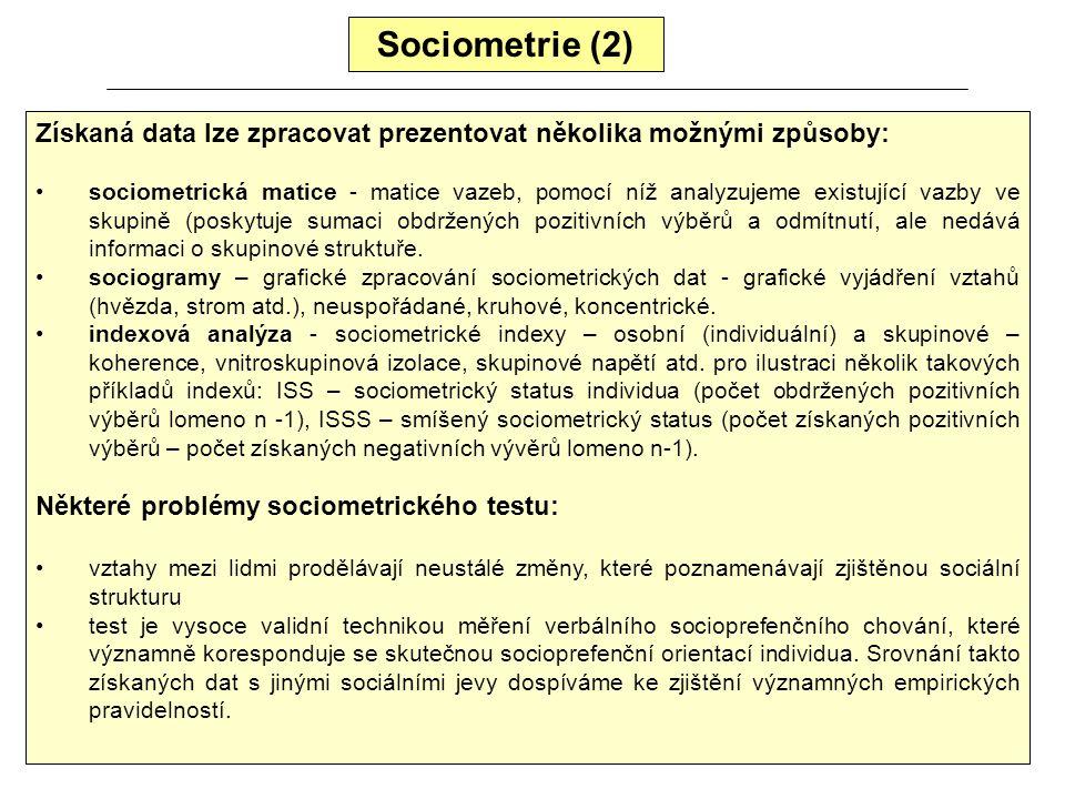 Sociometrie Sociologie (mikrosociologie a sociální psychologie) má též nástroj ke zkoumání vztahů a soudržnosti v malých sociálních skupinách (pracovn
