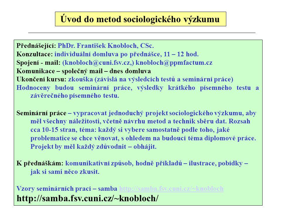Úvod do metod sociologického výzkumu Přednášející: PhDr. František Knobloch, CSc. Konzultace: individuální domluva po přednášce, 11 – 12 hod. Spojení