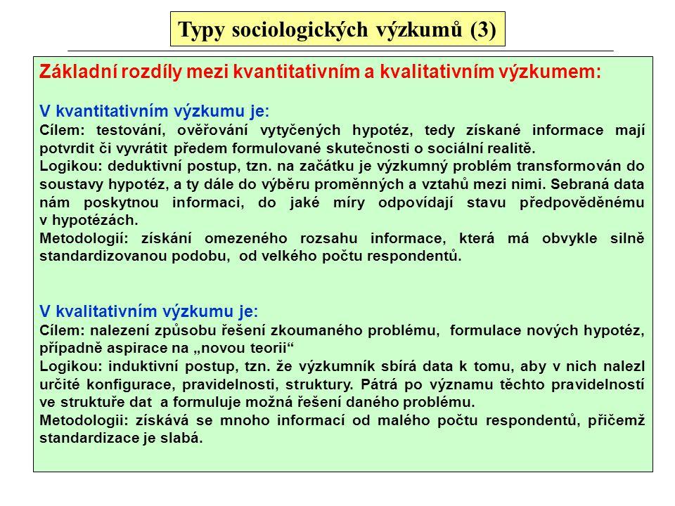Typy sociologických výzkumů (3) Základní rozdíly mezi kvantitativním a kvalitativním výzkumem: V kvantitativním výzkumu je: Cílem: testování, ověřován