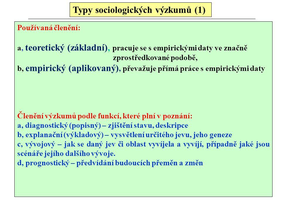 Typy sociologických výzkumů (1) Používaná členění: a, teoretický (základní), pracuje se s empirickými daty ve značně zprostředkované podobě, b, empiri