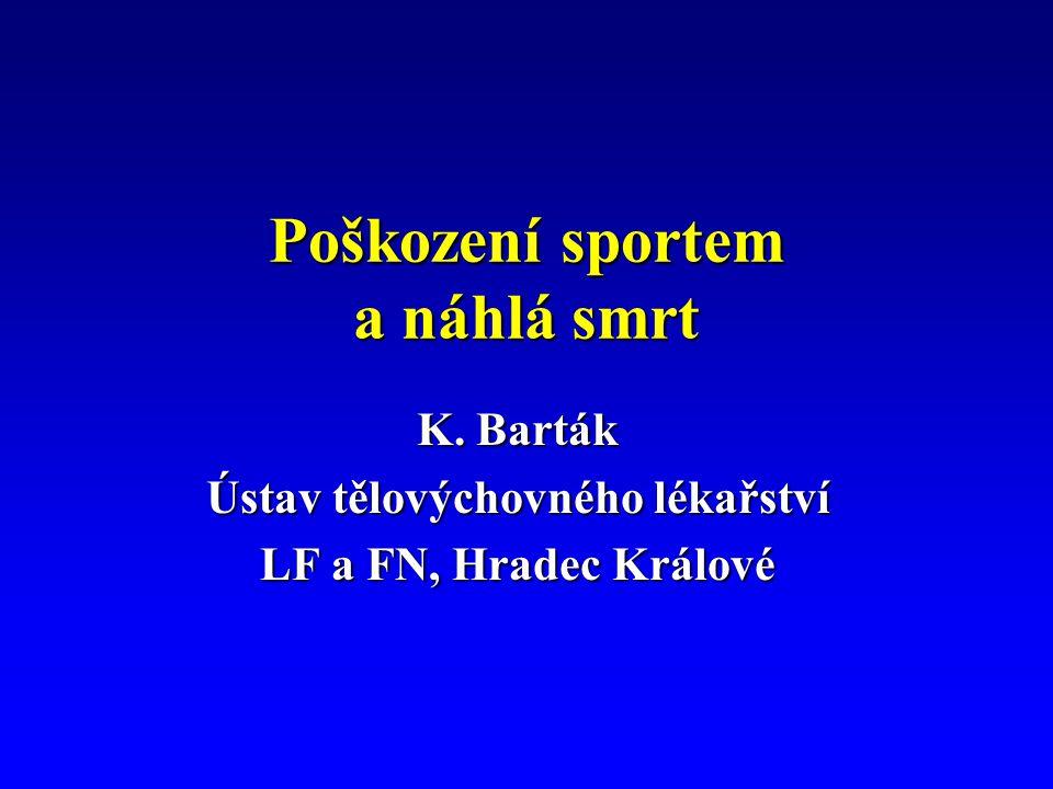 Poškození sportem a náhlá smrt K. Barták Ústav tělovýchovného lékařství LF a FN, Hradec Králové