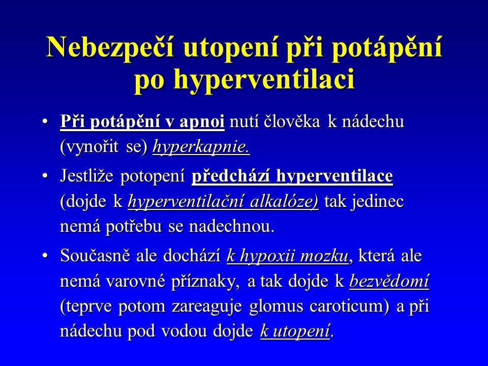 Nebezpečí utopení při potápění po hyperventilaci Při potápění v apnoi nutí člověka k nádechu (vynořit se) hyperkapnie.Při potápění v apnoi nutí člověk