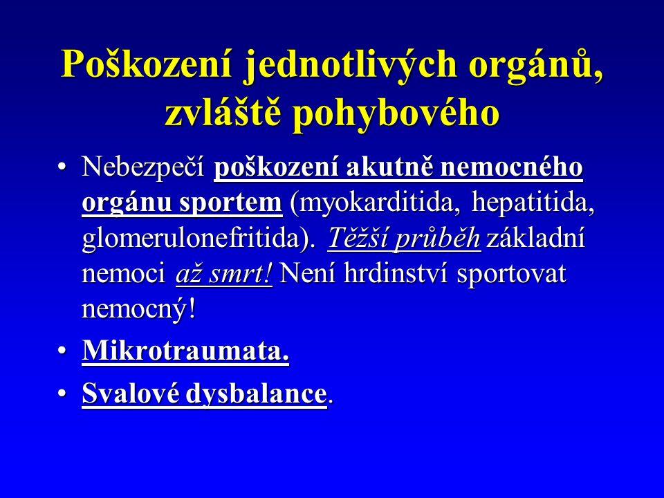 Poškození jednotlivých orgánů, zvláště pohybového Nebezpečí poškození akutně nemocného orgánu sportem (myokarditida, hepatitida, glomerulonefritida).