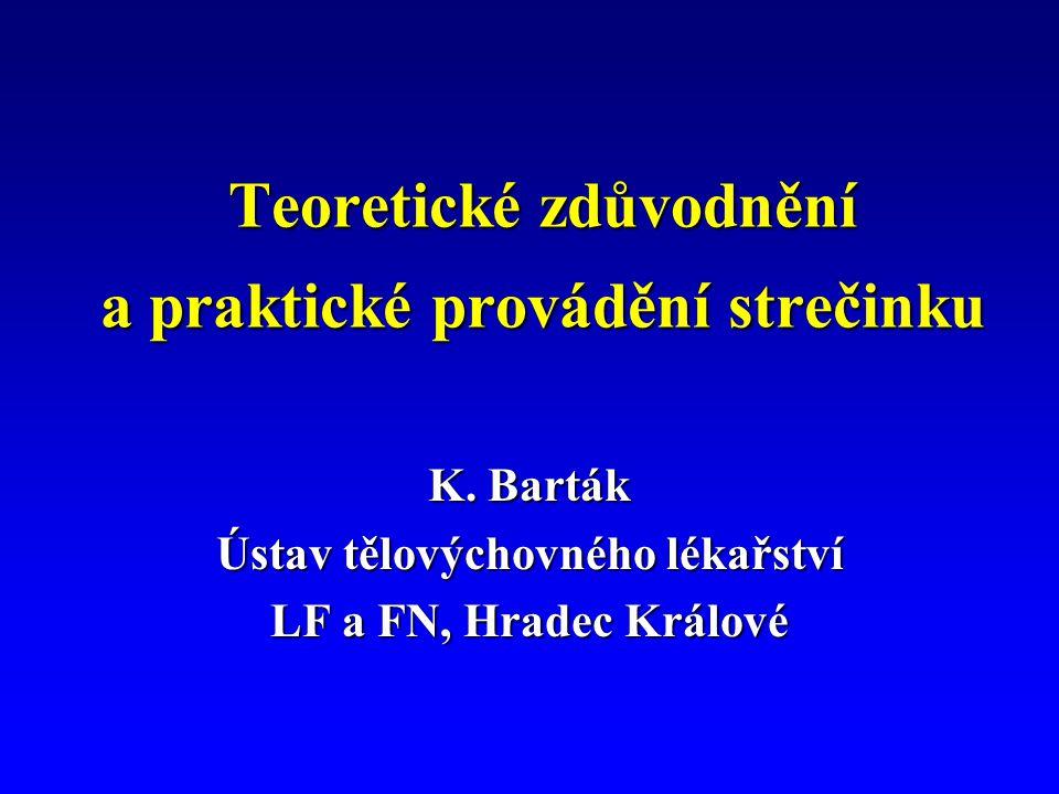 Teoretické zdůvodnění a praktické provádění strečinku K. Barták Ústav tělovýchovného lékařství LF a FN, Hradec Králové