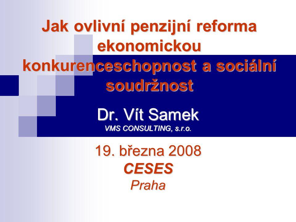 Dr. Vít Samek VMS CONSULTING, s.r.o. 19. března 2008 CESES Praha Jak ovlivní penzijní reforma ekonomickou konkurenceschopnost a sociální soudržnost