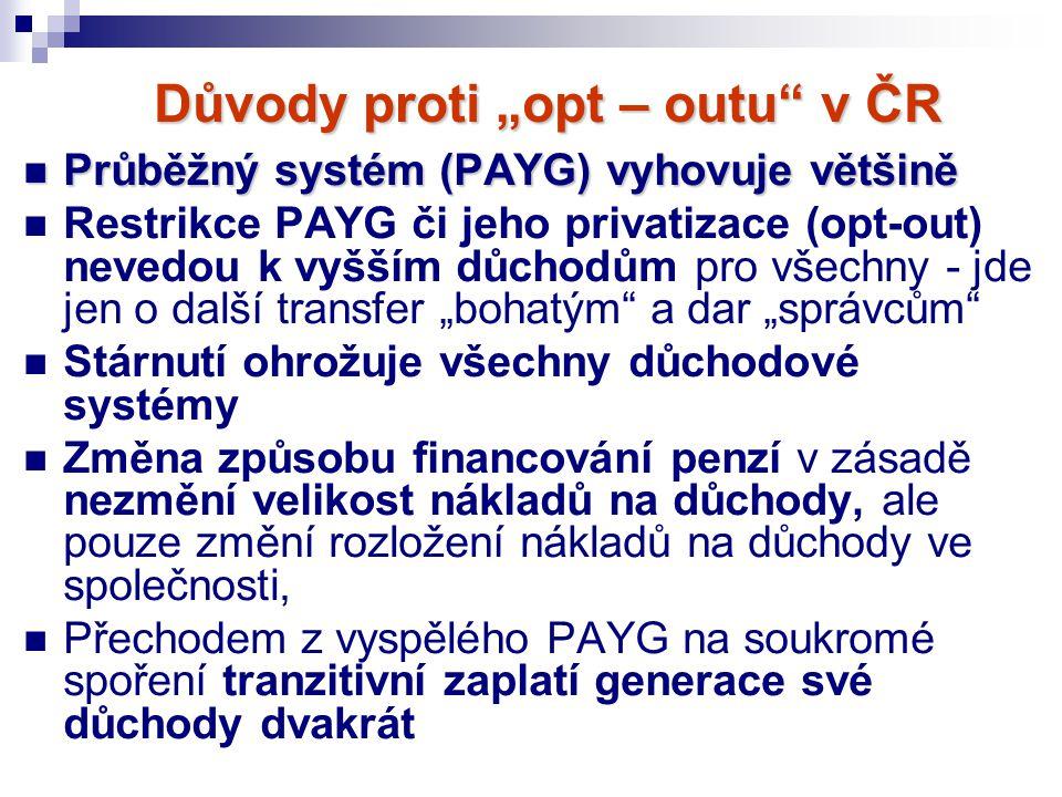"""Důvody proti """"opt – outu"""" v ČR Průběžný systém (PAYG) vyhovuje většině Průběžný systém (PAYG) vyhovuje většině Restrikce PAYG či jeho privatizace (opt"""
