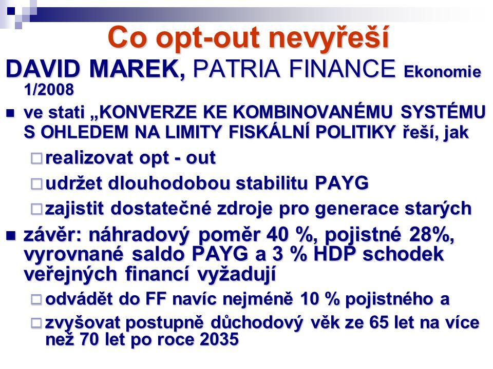"""Co opt-out nevyřeší DAVID MAREK, PATRIA FINANCE Ekonomie 1/2008 ve stati """"KONVERZE KE KOMBINOVANÉMU SYSTÉMU S OHLEDEM NA LIMITY FISKÁLNÍ POLITIKY řeší"""