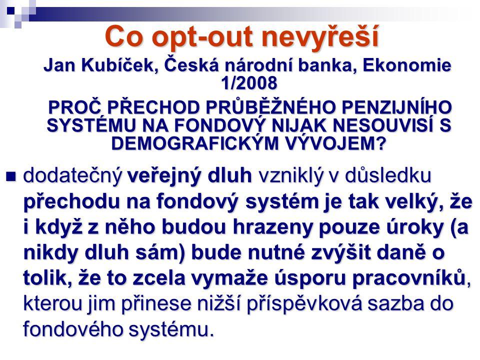 Co opt-out nevyřeší Jan Kubíček, Česká národní banka, Ekonomie 1/2008 Jan Kubíček, Česká národní banka, Ekonomie 1/2008 PROČ PŘECHOD PRŮBĚŽNÉHO PENZIJ