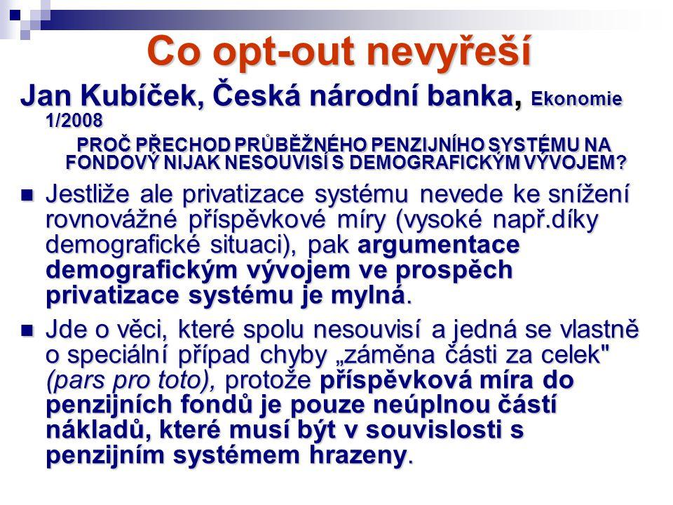 Co opt-out nevyřeší Jan Kubíček, Česká národní banka, Ekonomie 1/2008 PROČ PŘECHOD PRŮBĚŽNÉHO PENZIJNÍHO SYSTÉMU NA FONDOVÝ NIJAK NESOUVISÍ S DEMOGRAF