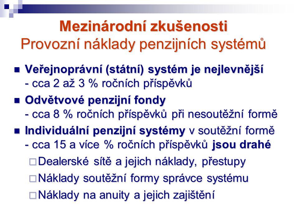Mezinárodní zkušenosti Provozní náklady penzijních systémů Veřejnoprávní (státní) systém je nejlevnější - cca 2 až 3 % ročních příspěvků Veřejnoprávní