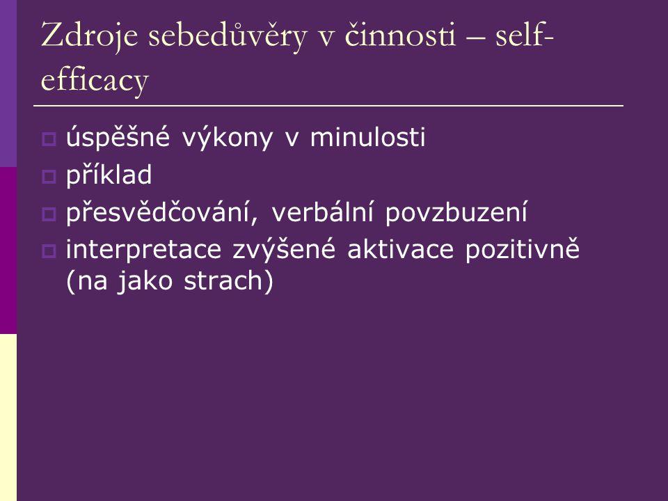 Zdroje sebedůvěry v činnosti – self- efficacy  úspěšné výkony v minulosti  příklad  přesvědčování, verbální povzbuzení  interpretace zvýšené aktivace pozitivně (na jako strach)