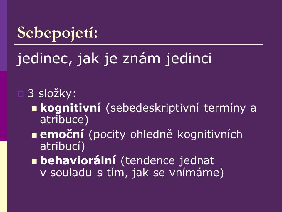 Sebepojetí: jedinec, jak je znám jedinci  3 složky: kognitivní (sebedeskriptivní termíny a atribuce) emoční (pocity ohledně kognitivních atribucí) behaviorální (tendence jednat v souladu s tím, jak se vnímáme)