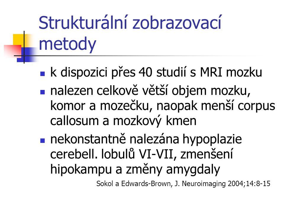 Strukturální zobrazovací metody k dispozici přes 40 studií s MRI mozku nalezen celkově větší objem mozku, komor a mozečku, naopak menší corpus callosu