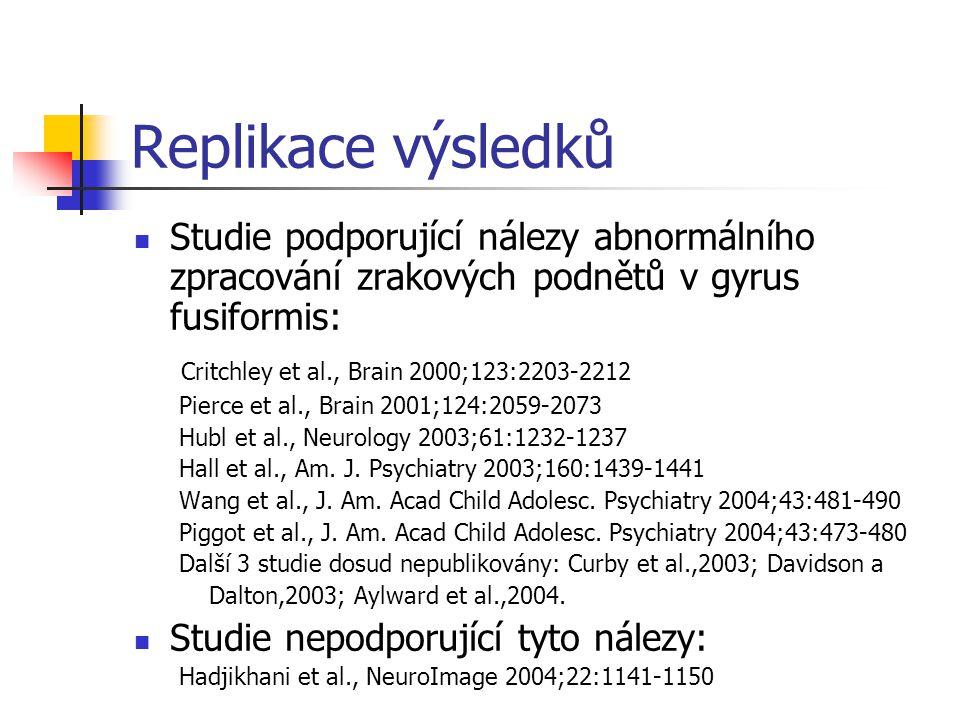 Replikace výsledků Studie podporující nálezy abnormálního zpracování zrakových podnětů v gyrus fusiformis: Critchley et al., Brain 2000;123:2203-2212