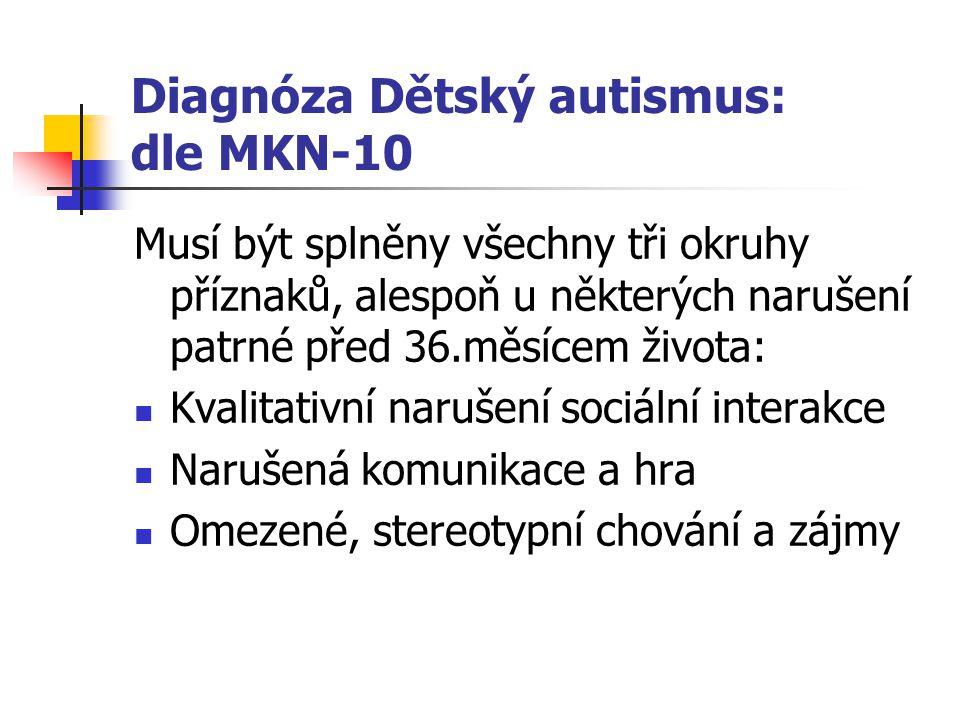Diagnóza Dětský autismus: dle MKN-10 Musí být splněny všechny tři okruhy příznaků, alespoň u některých narušení patrné před 36.měsícem života: Kvalita