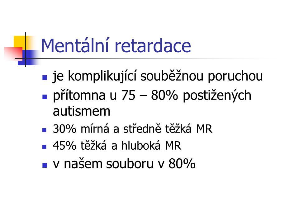 Mentální retardace je komplikující souběžnou poruchou přítomna u 75 – 80% postižených autismem 30% mírná a středně těžká MR 45% těžká a hluboká MR v n