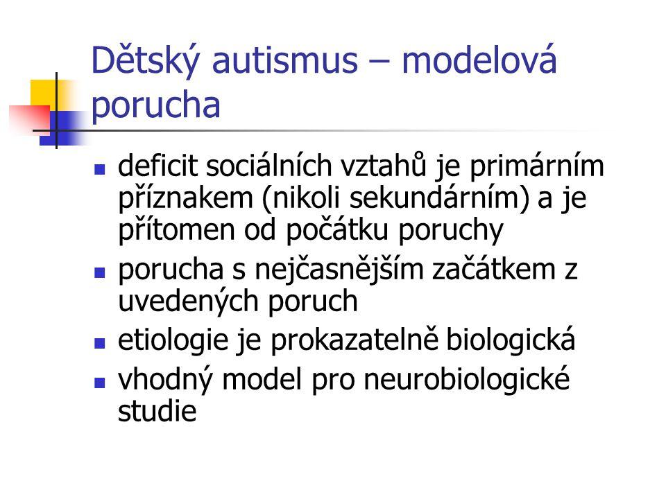 Dětský autismus – modelová porucha deficit sociálních vztahů je primárním příznakem (nikoli sekundárním) a je přítomen od počátku poruchy porucha s ne